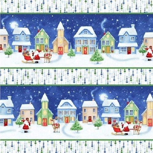 Christmas Village Night Sky Stripe Quilt Fabric