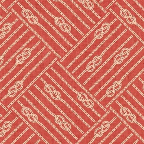 Drift Away Red Nautical Knots Quilt Fabric