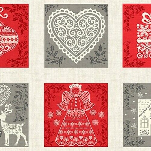 Scandi Christmas Squares Quilt Fabric