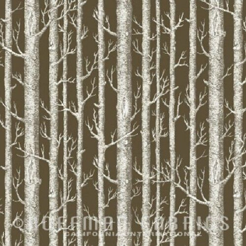 Rustic Refined Birch Trees Landscape Quilt Fabric