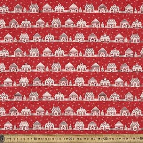 Christmas Village Stripe Nordic Quilt Fabric