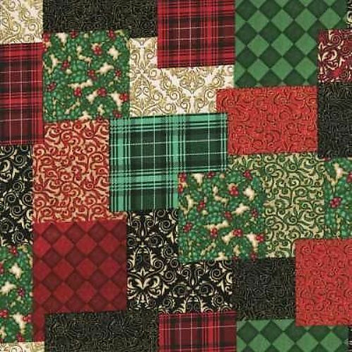 Christmas Elegance Patchwork Sampler Quilt Fabric