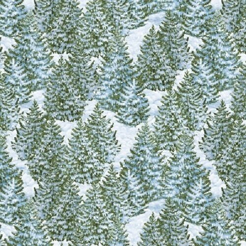 Winter's Eve Snowy Forest Quilt Fabric