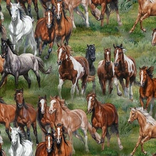 Wild & Free Horses Fields Quilt Fabric