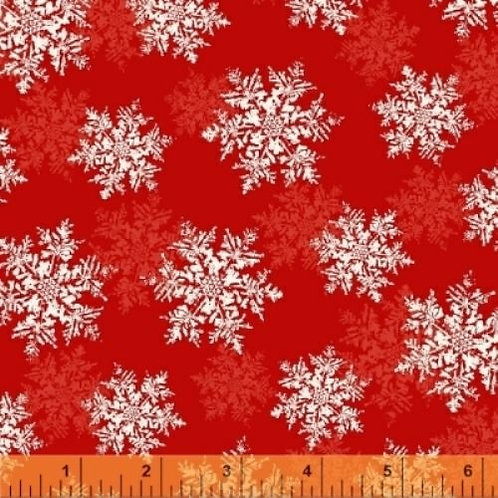 Season's Greetings Red Snowflakes Quilt Fabric