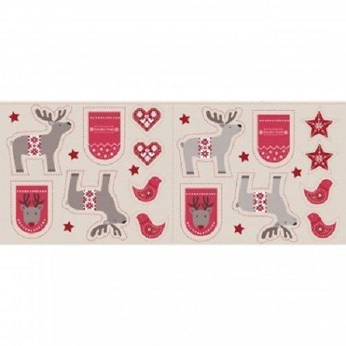 When I Met Santa's Reindeer Hearts Birds Fabric Panel