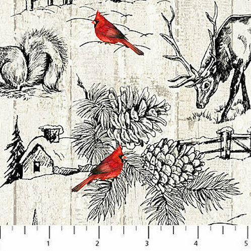 Cardinal Woods Red Cardinals Deer Forest Scenic Christmas Quilt Fabric