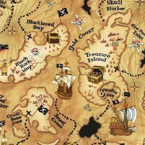 Treasure Map Pirates Quilt Fabric