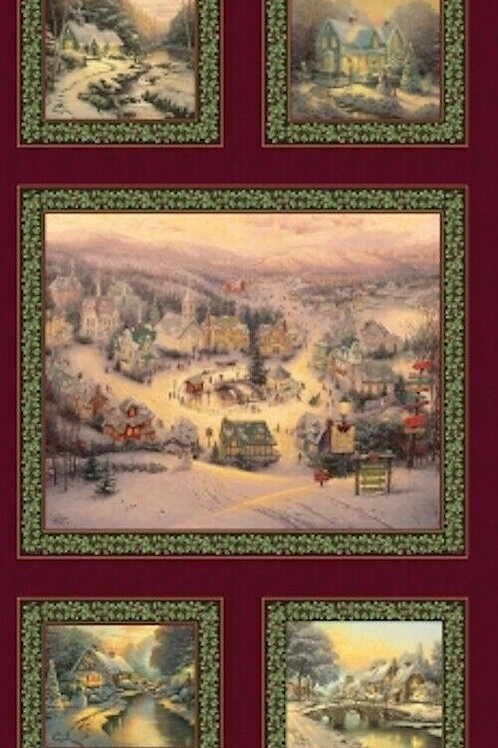 Spirit Of Christmas Thomas Kinkade Quilt Fabric Panel