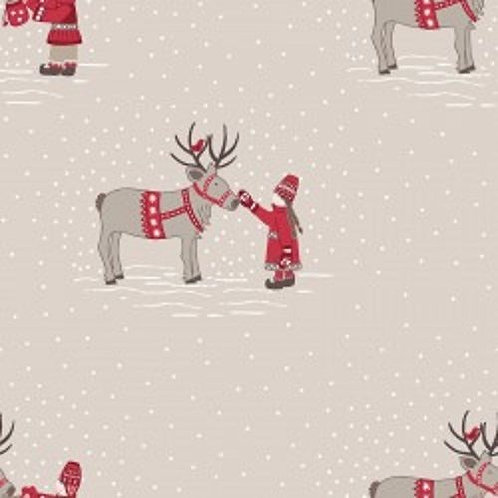When I Met Santa's Reindeer Snow Christmas Quilt Fabric