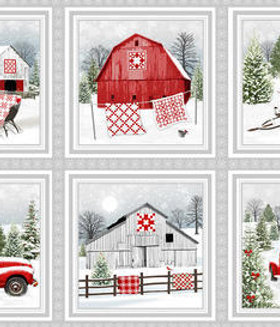 Holiday Heartland Barns Wagons Snow Christmas Quilt Fabric Panel