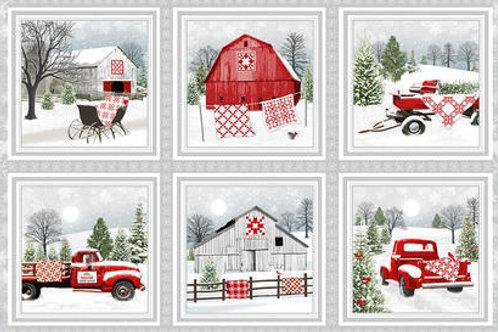 Holiday Heartland Barns Wagons Snow Christmas Quilt Fabric Panel