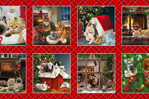 Fireside Kittens Christmas Quilt Block Fabric Panel