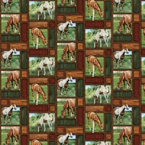 Wild Wings Valley Crest Horses Meadow Patch Quilt Fabric 1/2 yd