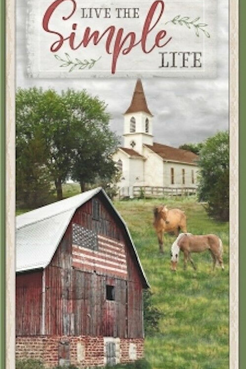 Live The Simple Life Country Barn Quilt Fabric Panel