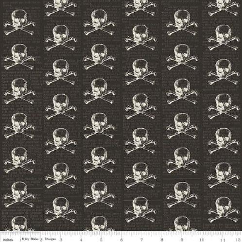 Lost & Found Black Skull & Crossbones Quilt Fabric