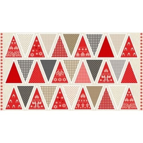Scandi Christmas Bunting Quilt Fabric Panel