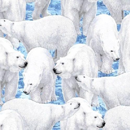 Northern Lights Polar Bears Quilt Fabric