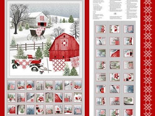 Holiday Heartland Advent Calendar Barns Snow Christmas Quilt Fabric Panel