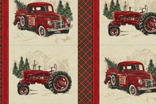 Vintage Christmas Quilt Fabric Panel