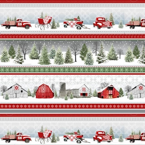 Holiday Heartland Red Wagons Sleighs Stripe Quilt Fabric