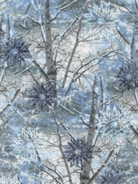 Snowy Branches Trees Landscape Quilt Fabric