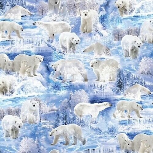 Winter's Pearl Polar Bear Snow Ice Quilt Fabric