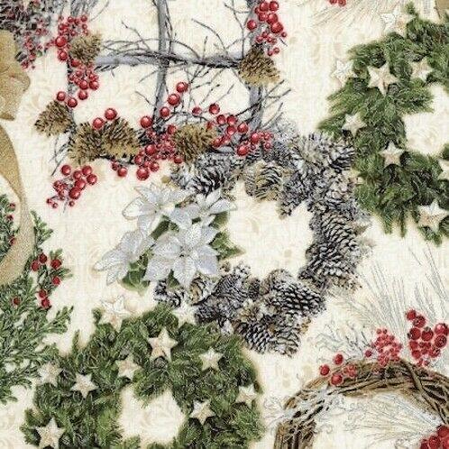 A Very Merry Christmas Wreaths Holly Poinsettia Quilt Fabric