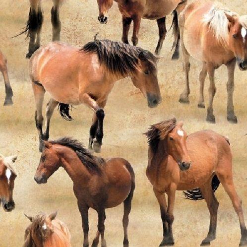 Greener Pastures Horses Summer Meadows Quilt Fabric