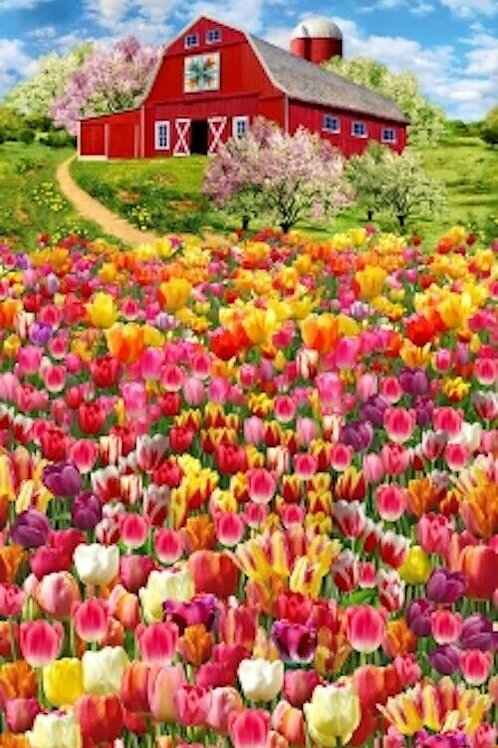 Tulip Farm Blossom Barn Quilt Fabric Panel