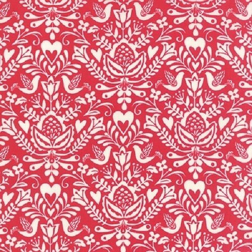North Woods Red Birds Hearts Christmas Quilt Fabric