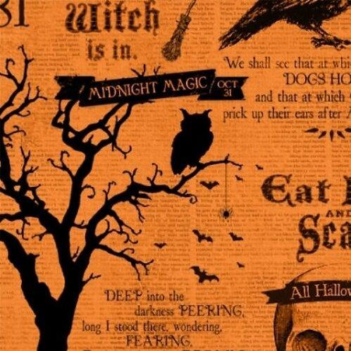 Something Wicked Orange Newsprint Halloween Quilt Fabric