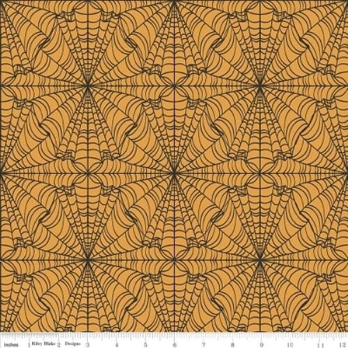 Lost & Found Orange Webs Halloween Quilt Fabric