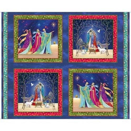 Christ Is Born Nativity Three Wise Men Christmas Quilt Fabric Panel