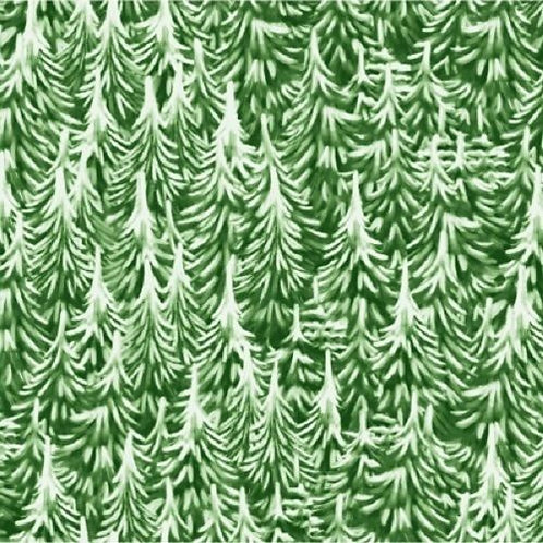 Christmas Village Green Christmas Trees Quilt Fabric