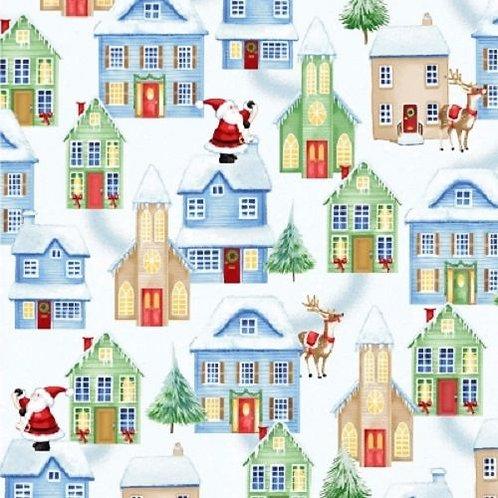 Christmas Village Snow Santa Quilt Fabric