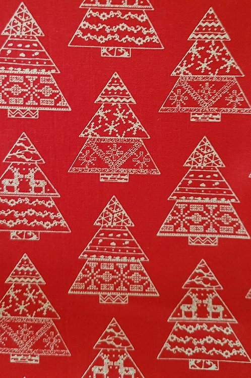 Scandi Red Christmas Trees Quilt Fabric