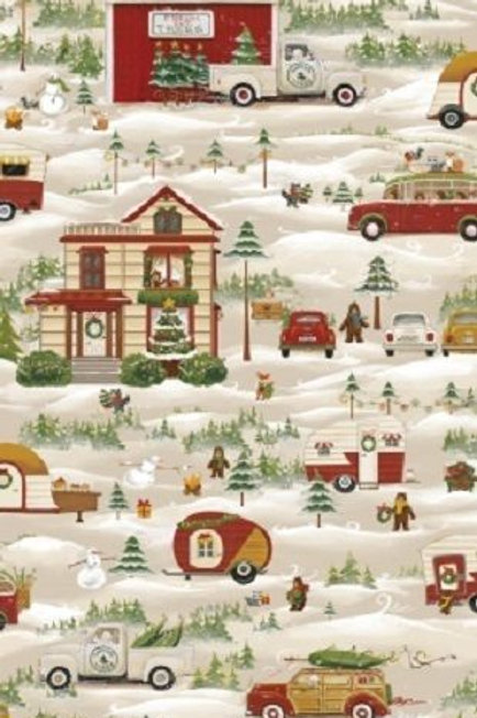 Season's Greetings Snowy Scenic Christmas Quilt Fabric