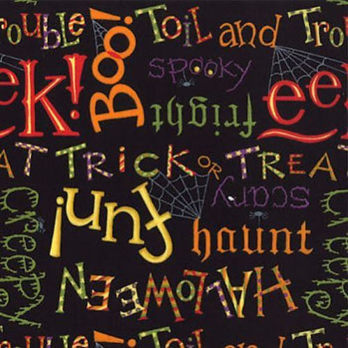 Happy Howloween Black Spooky Words Halloween Quilt Fabric