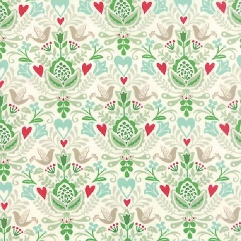 North Woods Birds Hearts Christmas Damask Quilt Fabric