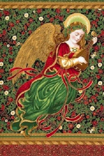 Holiday Flourish Christmas Angel Ribbons Metallic Fabric Panel