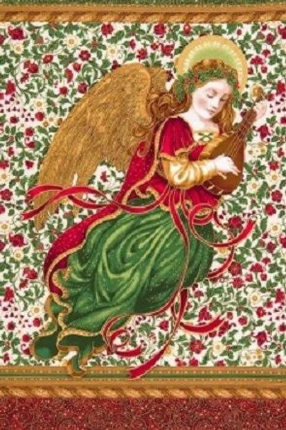 Holiday Flourish Christmas Angel Metallic Fabric Panel