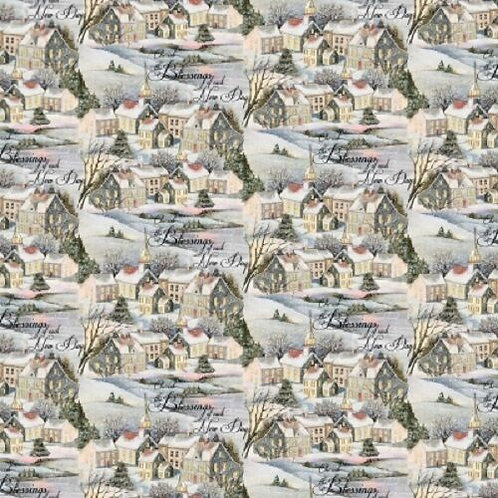 Wintervale Snowy Houses Cherish the Blessings of Each New Day Quilt Fabric