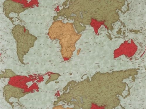 Moda Passport World Map Quilt Fabric By The Yard