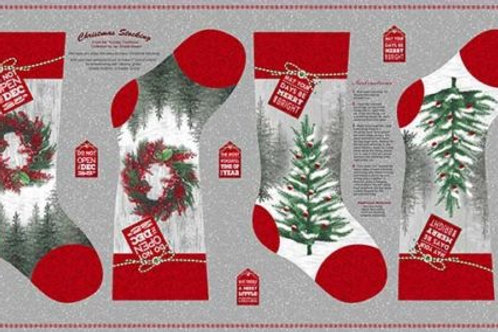 Holiday Traditions Christmas Stockings Quilt Fabric Panel