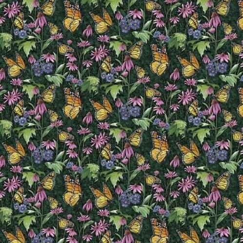 Butterflies Flowers Daisies Quilt Fabric