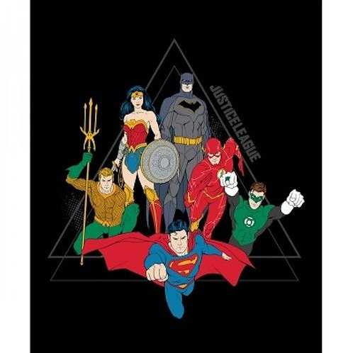 Justice League Activated Black Quilt Fabric Panel
