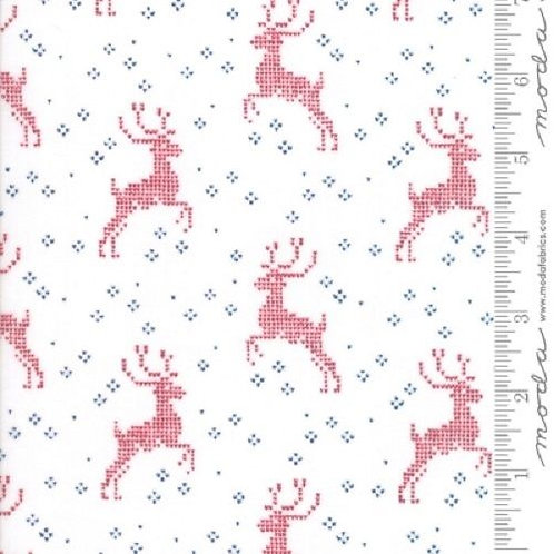 Nordic Stitches Red Snow Deer Quilt Fabric