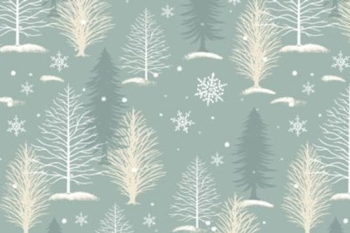 A Christmas To Remember Winter Landscape Trees Quilt Fabric