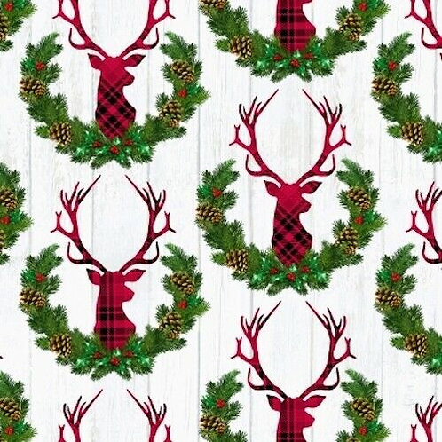Let It Snow Reindeer Wreath Tartan Stag Quilt Fabric